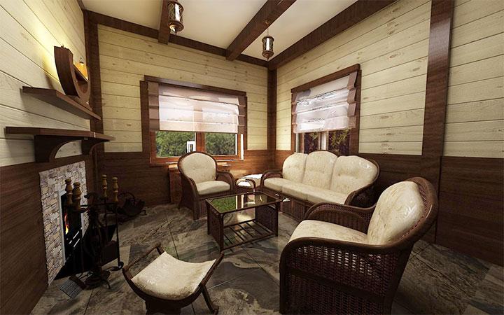 Банная комната отдыха с камином
