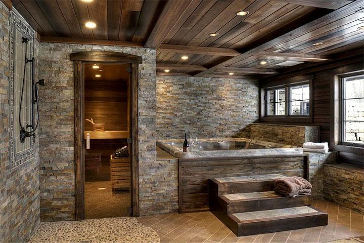 Баня с бассейном в стиле лофт