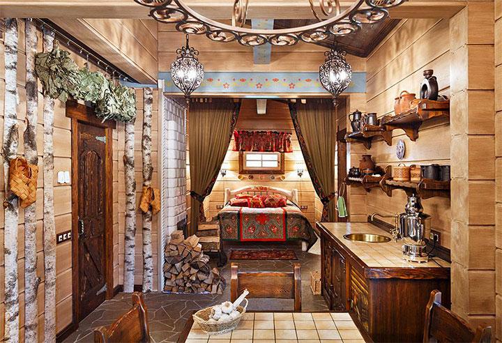 Интерьер бани в русском стиле
