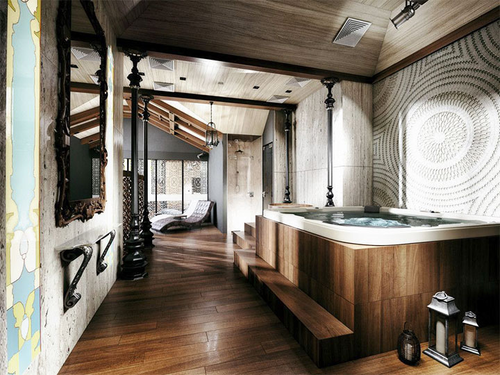 Интерьер бани в стиле лофт