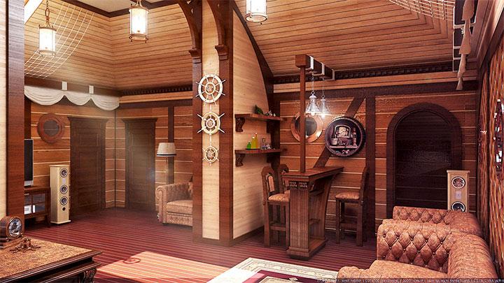 Комната отдыха для бани в морском стиле