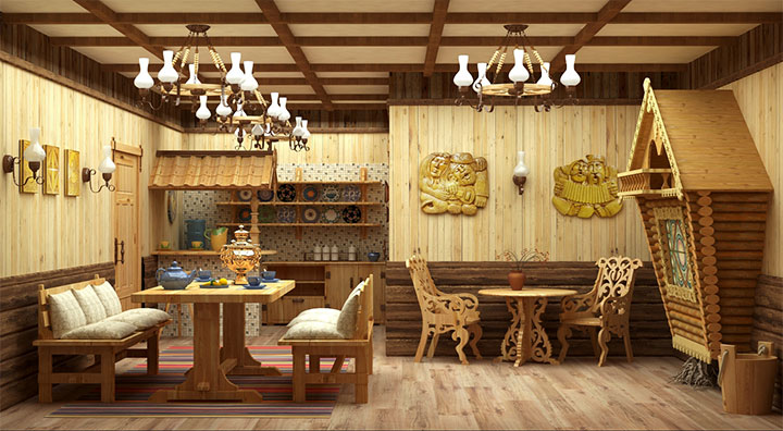 Комната отдыха для бани в стиле кантри