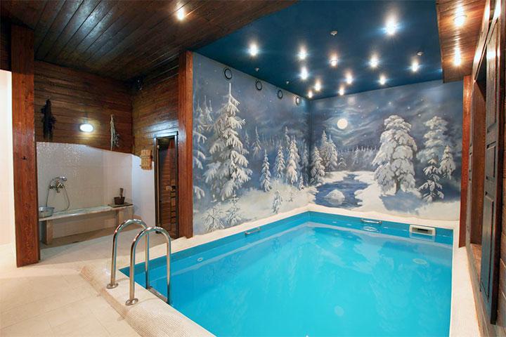 Оформление бассейна в бане