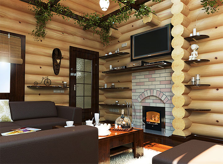 Современный дизайн банной комнаты для отдыха