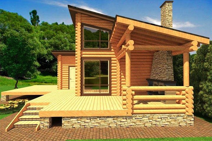 Проект двухэтажного дома с барбекю