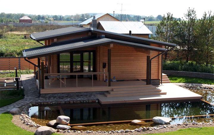 Современная баня с открытой террасой