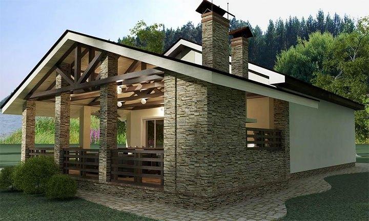 Проект загородного дома из камня с баней и верандой