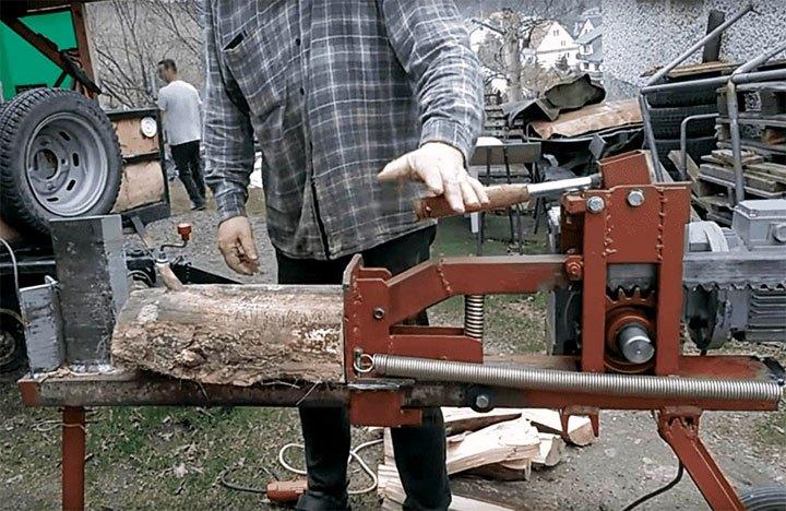 Пружинный механизм для колки дров