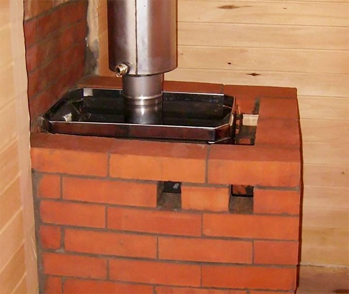 Банная печь обложенная кирпичом