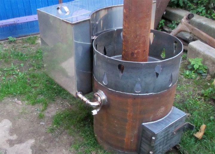 Вертикальная банная печь из трубы