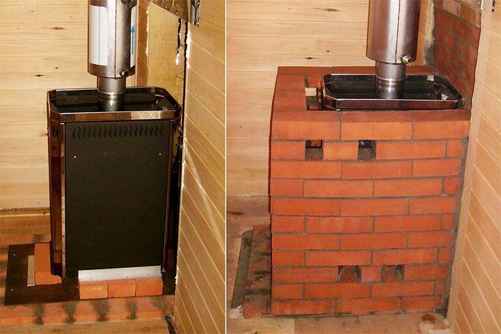 Банная печь до и после обкладки кирпичом