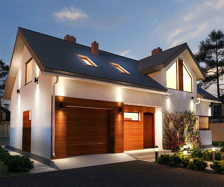 Декоративное наружное освещения частного дома