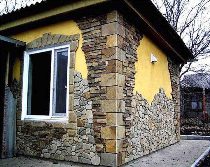 Комбинированная облицовка фасада камнем