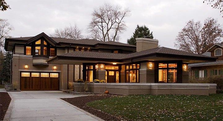 Оформление фасада дома в стиле райт