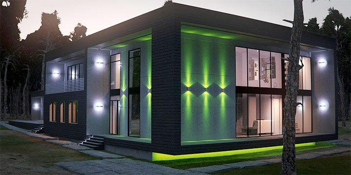 Освещения фасада маленького дома
