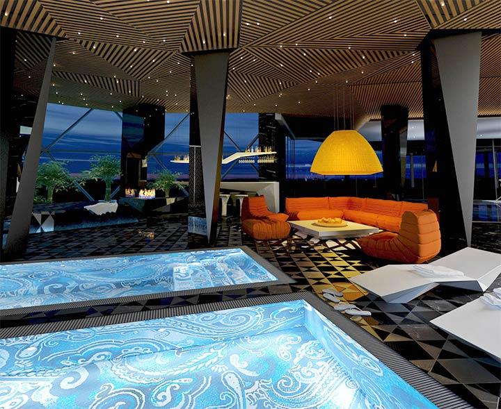 Интерьер комнаты для отдыха с бассейном