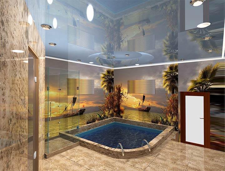 Комната с угловым бассейном в современном стиле