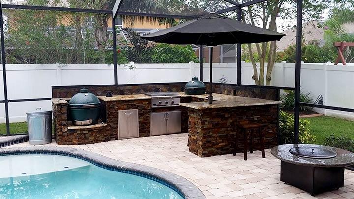 Летняя кухня у бассейна
