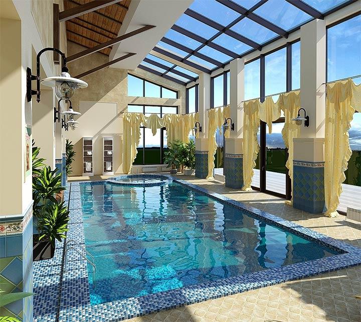 Оформление бассейна в стиле прованс