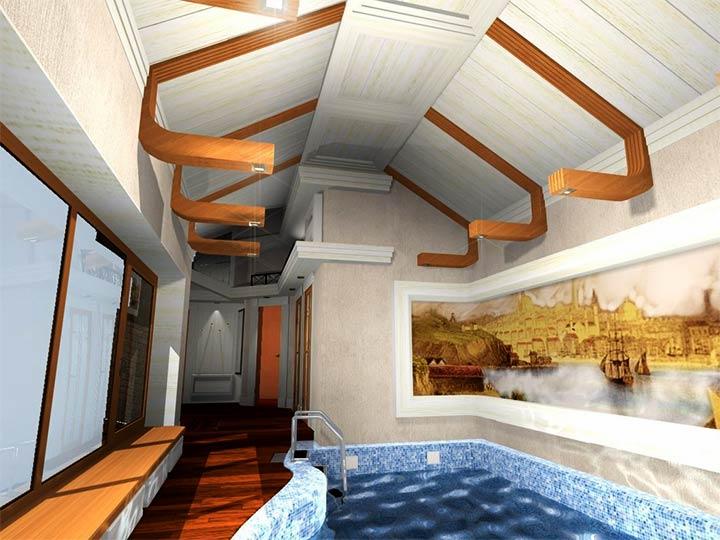 Оформление комнаты с бассейном