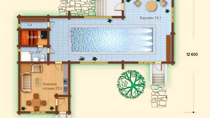 План сауны с бассейном
