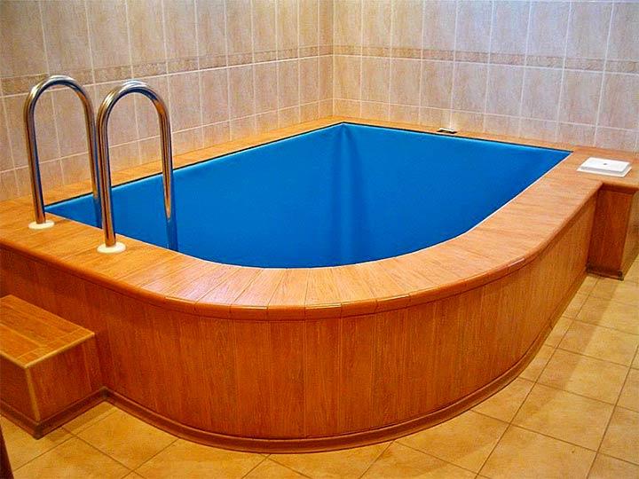 Угловая купель в бане
