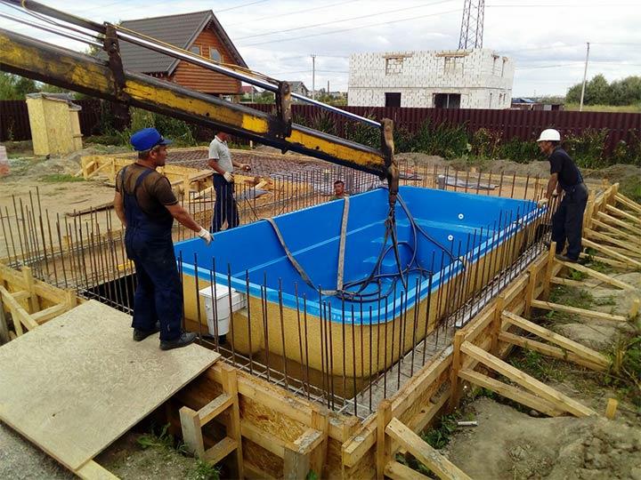 Установка стационарного бассейна