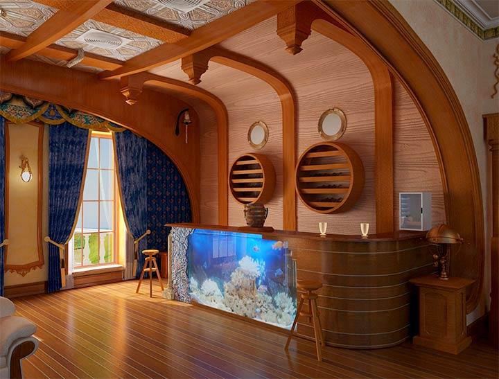 Морской стиль в оформлении бани