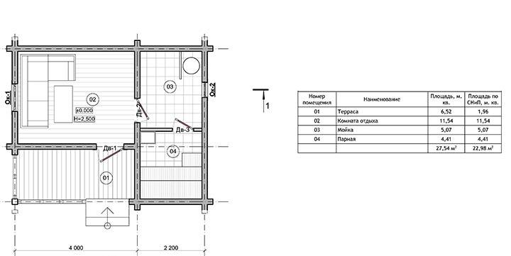 План одноэтажной бани