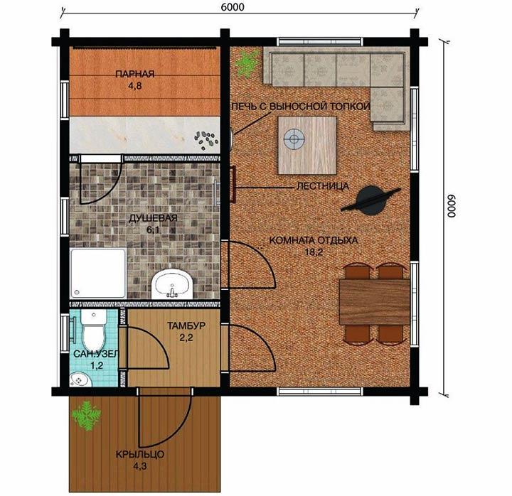План расположения комнат внутри бани