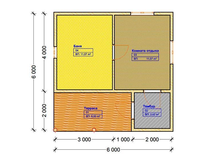 Планировка бани 6 на 6 с террасой, комнатой отдыха и тамбуром