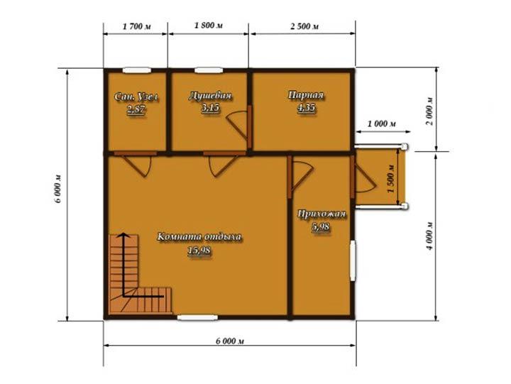 Планировка помещений бани размером 6 на 6