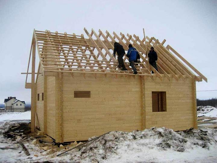 Монтаж двухскатной крыши для бани