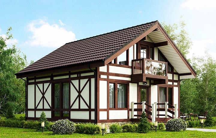 Дом в стиле фахверк с двускатной крышей