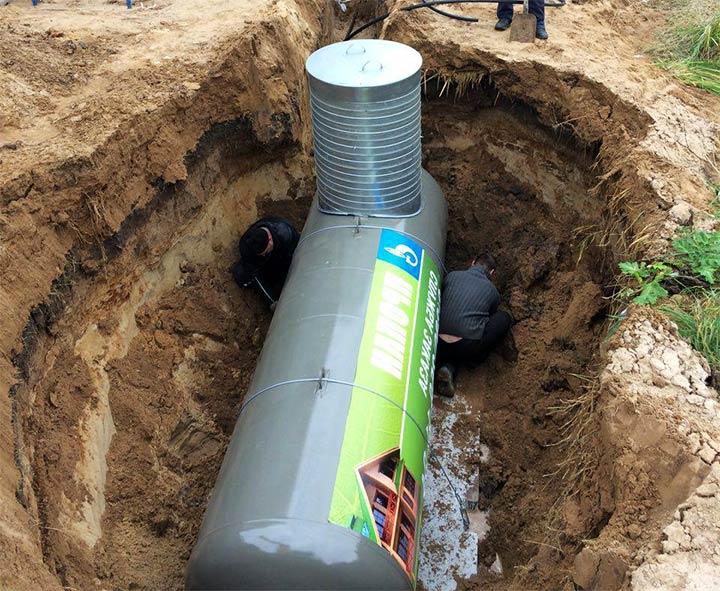 Монтаж подземного газового резервуара